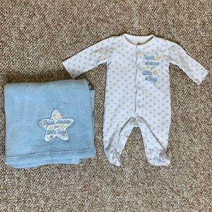 Baby boy onesie and matching blanket